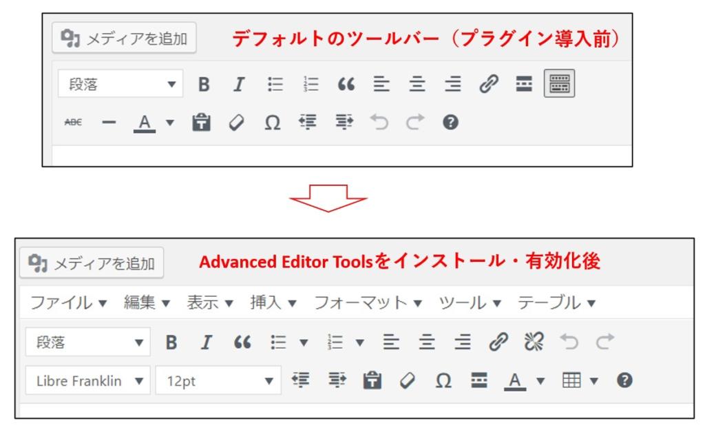 Advanced Editor導入前後のツールバー