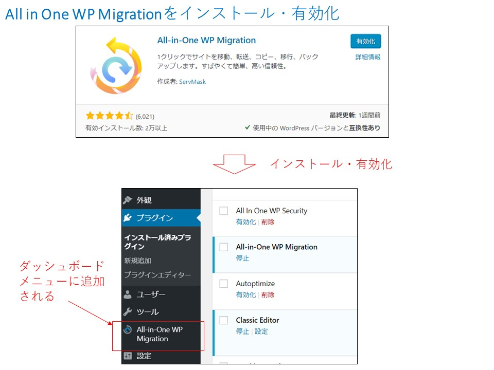 All in One WP Migrationをインストール・有効化する