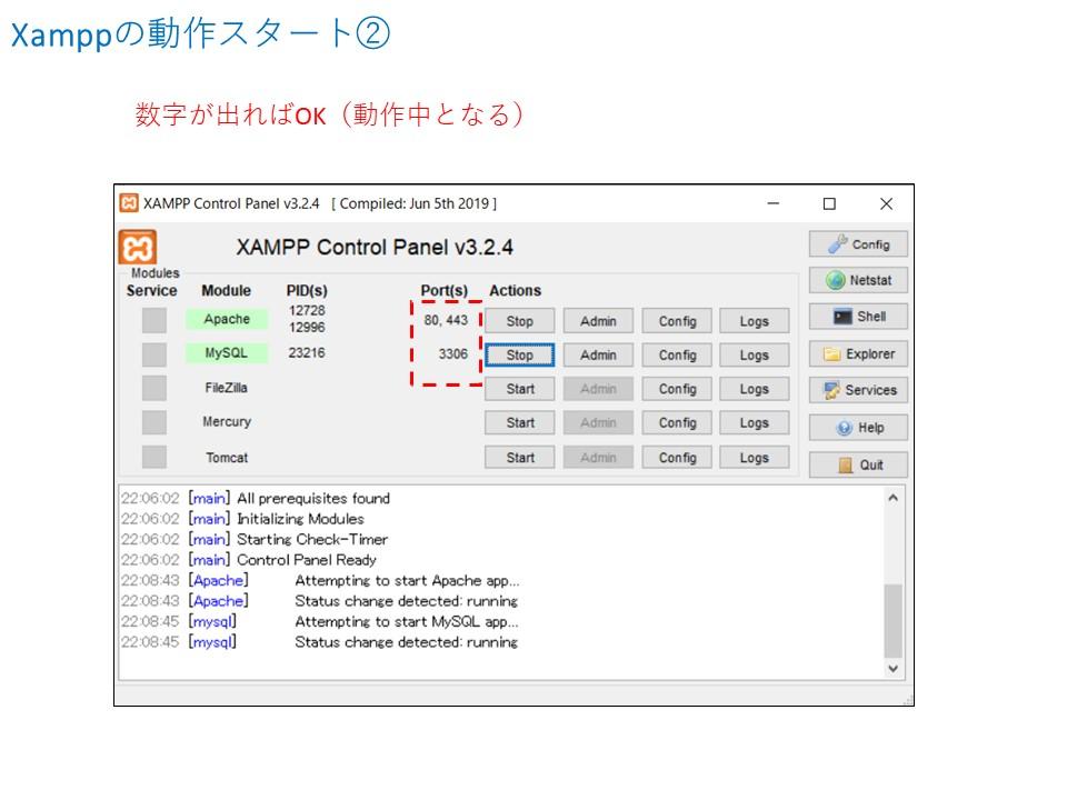 xamppの動作スタート②