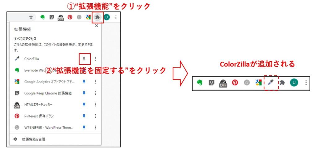 拡張機能の固定手順
