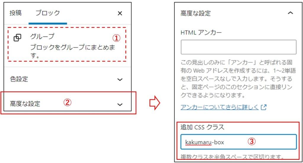 追加CSSクラス名kakumaru-boxを設定