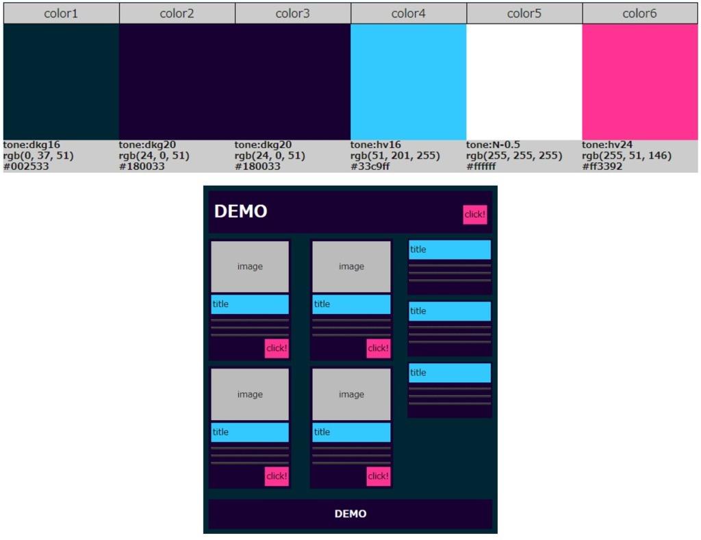 機械的なイメージを与えるメカニカルな配色