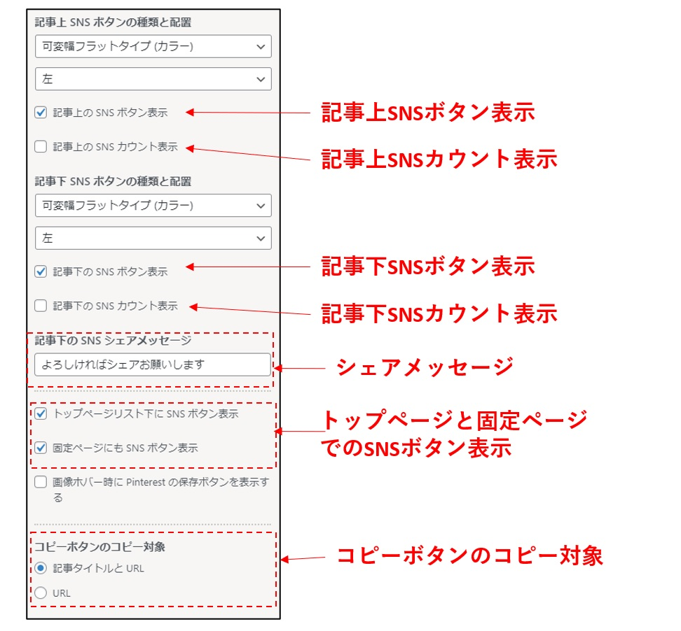 SNSシェアボタンの表示設定